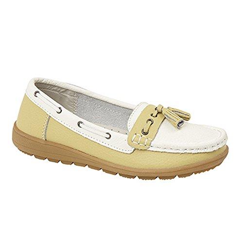 Boulevard Damen Bootsschuhe / Loafers / Mokassins mit Quasten White/Pistachio