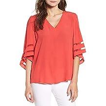 Ropa Camisetas Mujer,ZODOF Camisas Mujer Verano Elegantes Strapless Encaje Casual Tallas Grandes Camisetas Mujer
