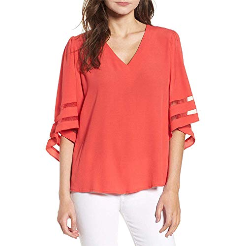 XNBZW Tops Women V Neck Tops Loose 3/4 Bell Sleeves Blouse Solid Color Lace Patchwork Tees Casual Shirt Short Sleeve Sweatshirt Pullover T Shirt (Outfit Maroon Leggings)
