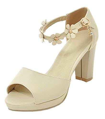 YE Damen Blockabsatz High Heels Peep Toe Plateau Sandalen mit Riemchen und Blumen Schnalle Pumps Schuhe Beige