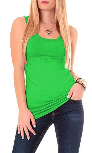 Damen Basic Tank Top Trägertop Tanktop Longtop Longshirt Träger Long Shirt Stretch Unterhemd Unterziehtop Lang Uni One Size Grün Grasgrün (Grünen Tank Top Armee)
