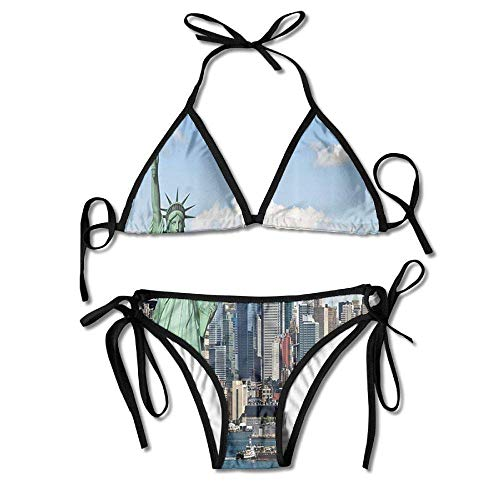 MSGDF Womens Sexy Bikini Sets Bathing Swimsuits Tie Back New York Statue of Liberty in NYC Flower Print Black