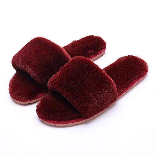 ZHLONG Pantofole di peluche cotone casual autunno inverno Ladies scivolare calde pantofole , 7 , large