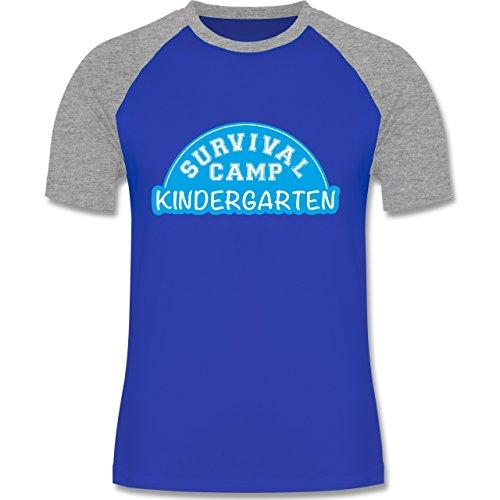 Shirtracer Sonstige Berufe - Survival Camp Kindergarten - Herren Baseball Shirt Royalblau/Grau meliert