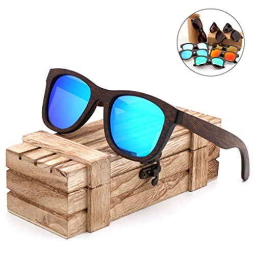 YJLYQ Holz Herren Und Damen Sonnenbrillen, Unisex Retro Holzoptik Gläser UV-beständig Polarisiertes Licht TAC Objektiv UV400 (Color : A)