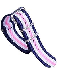 18mm Color: azul marino / blanco rosa sin tiempo delicadas bandas de los hombres de una sola pieza del reloj de perlón nylon estilo de la NATO correas /