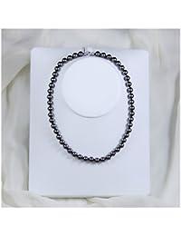 Schmuckwilly Muschelkernperlen Perlenkette Perlen Collier - dunkelgrau Hochwertige Damen Halskette aus echter Muschel 8mm mk8mm084