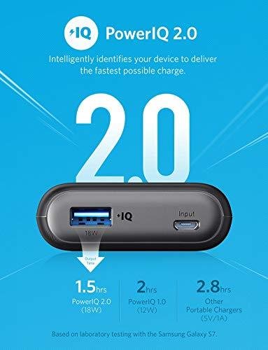 Anker PowerCore II 10000mAh externer Akku mit PowerIQ 2.0 Powerbank, extra kompakt für iPhone X 8 8Plus 7 6s 6Plus, Samsung Galaxy und weitere Geräte (Schwarz)