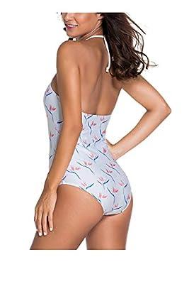 Kaamastra Womens Bird of Paradise Crochet Halter Swimsuit(KA_LC41744,White,Freesize)