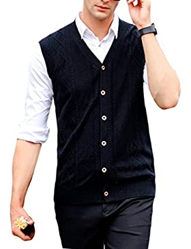 Zhhlinyuan alta calidad Mens Men's Father V-neck Solid Color Buttons Business Winter Sleeveless Wool Pullover...