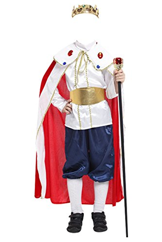 Joyplay Mittelalter Prinz Kostüm Kinderkostüm König mit Krone Adeliger Ritter Königssohn Verkleidung Märchenprinz Tunika mit Umhang Karnevalskostüm - Kind Mittelalter Prinzen Kostüm