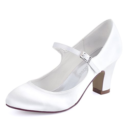 ElegantPark HC1801 Bequeme Damen Blockabsatz Mary Jane Pumps Satin Hochzeit Brautschuhe, Weiß, 42 EU Heel Mary Jane Pump Schuhe