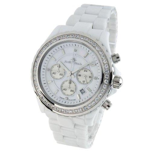 Stella Maris STM11–0100–1–Orologio da donna–quadrante bianco–Braccialetto Ceramica Bianco