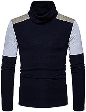 Uomini maglione moda magia colore imposta la testa alta maglione collare Sau collare di elevata copertura di svago...
