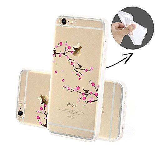 FINOO | Silikon-Handy-Case für iPhone 5 / 5S | weiche, transparente, flexible Silikon-Handy-Hülle mit verschiedenen modernen Motiven für Apple Smartphone | Buntes Rehkitz Vögel SILIKON