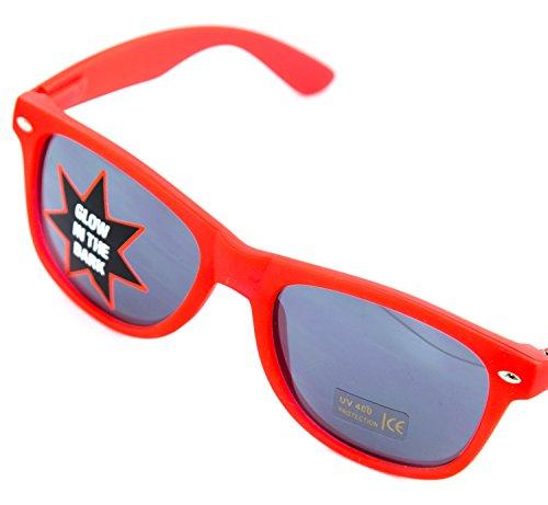 Nick and Ben Sonnen-Brille rot 14,5cm breit UV-Schutz 400 leutet im Dunkeln Herren Damen Sun-Glasses Wayfarer Nerd-Brille Geek-Brille (Blue Brothers Kostüm Frauen)