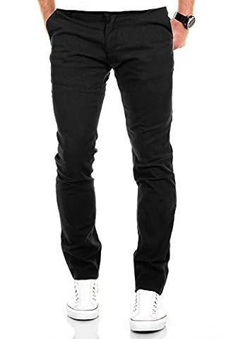Merish Chino Stretch Slim-Fit Figurbetont Stoffhose Hose Jeans Modell 168 Schwarz 36-32