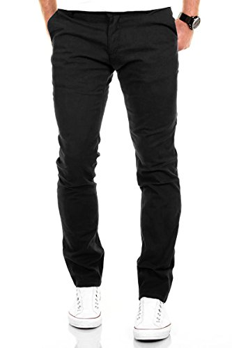 Merish Chino Stretch Slim-Fit Figurbetont Stoffhose Hose Jeans Modell 168 Schwarz 33-32 (Slim-fit-jeans)