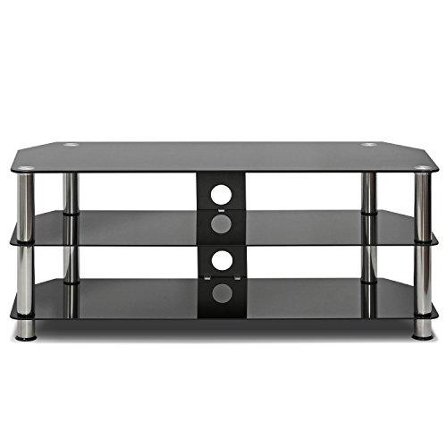 Furinno Laptoptisch frl16m3bk Siebdruck Glas Home Entertainment Center, TV Ständer, Metall, schwarz, Rechteckig Avf-tv