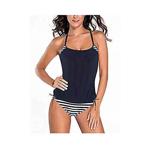 0711d6b72e81a5 FeelinGirl Tankini Retro Bikini Set Sportliche Swimwear Bademode Monokini  Badeanzug Damen Bauchweg, XL(EU 38), Schwarz