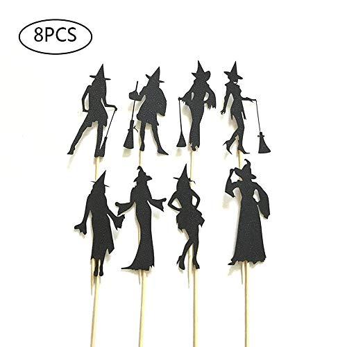 (Rishx Halloween-Kuchen-Dekoration, 8 Hexen-Plakate Flags Kürbis-Geist-Fledermaus-Plakette)