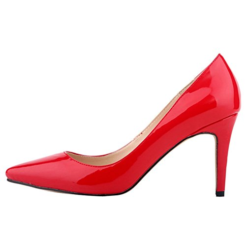 OCHENTA Femme Escarpins Sexy En PU Verni Talon Aiguille Haut Chaussures Traivail Mariage Rouge