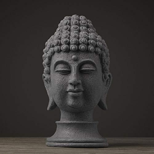 YIIVAN Estatua de Buda Figuras Estatua de Buda Chino para resina de jardín Decoración de estatua de cabeza de Buda Grande Decoración de Buda, Cinerous