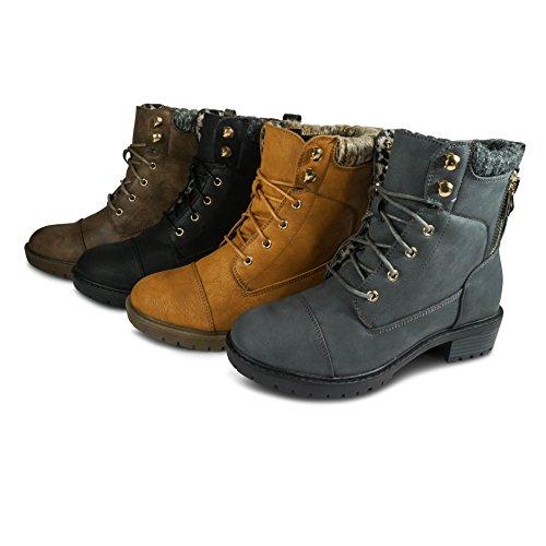 Stivali Da Donna Stivaletti Stivali Da Lavoro Outdoor Biker Boots St9817 Nero