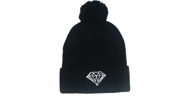 75b50e415ad Diamonds Supply Co Beanie Pom Pom (Black with white Logo)  Amazon.co.uk   Sports   Outdoors