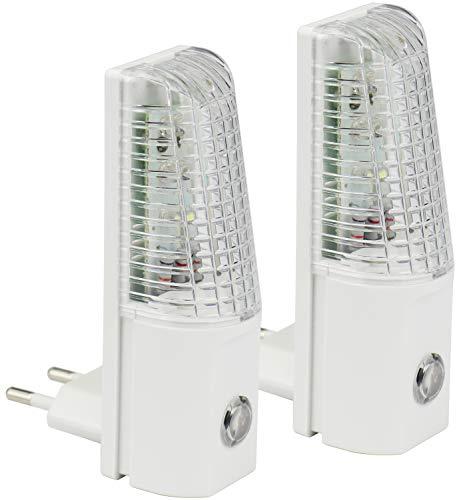 com-four® 2X Veilleuse à LED avec capteur crépusculaire Automatique - Prise de Courant à LED Blanche - Lumière d'orientation Domestique (02 pièces - veilleuse Blanche)