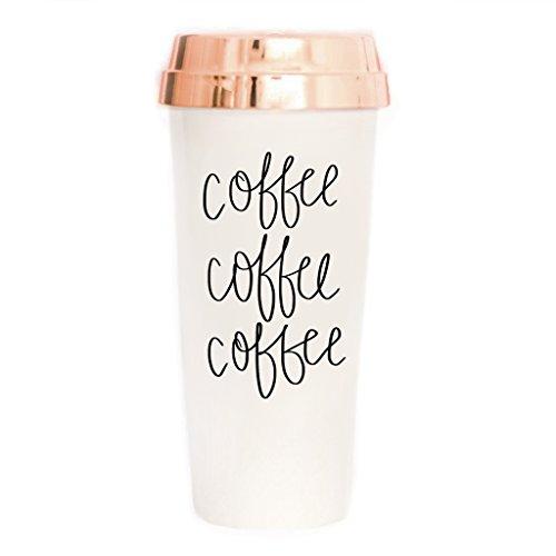 Taza de café y café de viaje   oro rosa para oficina, accesorios de escritorio para mujeres, vaso de plástico con tapa, 16 onzas