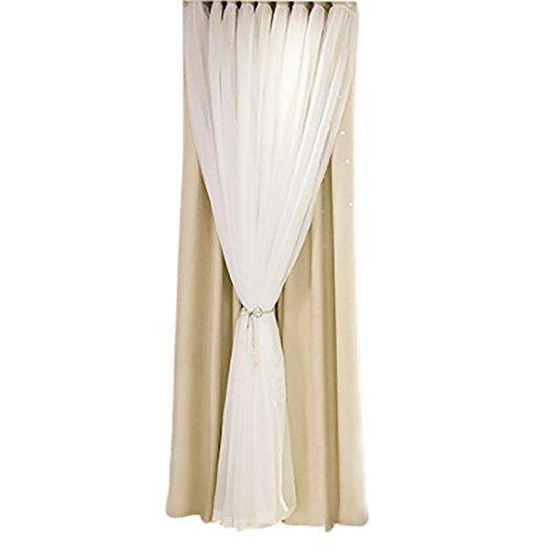 Wyxhkj - tenda decorativa con stelle trasparenti, per soggiorno, camera da letto, beige, 200cm x 100cm
