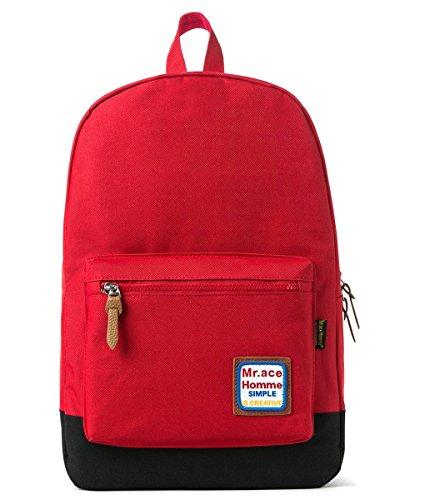 Keshi Nylon Niedlich Schulrucksäcke/Rucksack Damen/Mädchen Vintage Schule Rucksäcke mit Moderner Streifen für Teens Jungen Studenten Rot