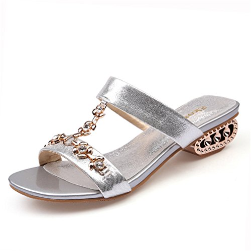 Mode Frauen Sandalen Damen Party Kleid Schuhe Sommer Strass Cut-Outs Medium Heels Schuhe Frau Silver 6.5