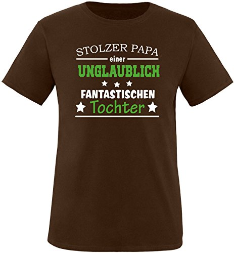 EZYshirt® Stolzer Papa einer unglaublich fantastischen Tochter Herren Rundhals T-Shirt Braun/ Weiß/ Grün
