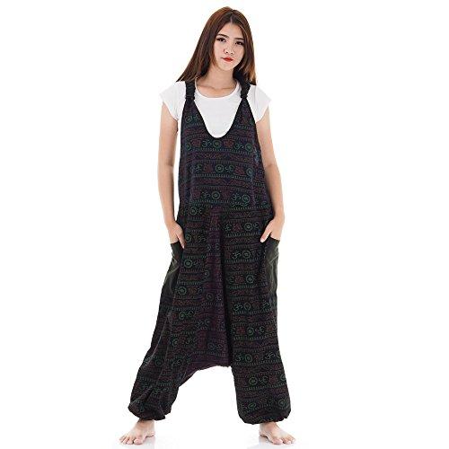 Hippie Jeans Hose Overall Haremshose Latzhose Pumphose für Damen 36 38 40 42 (Schwarz & Dunkelgrau & Lila)