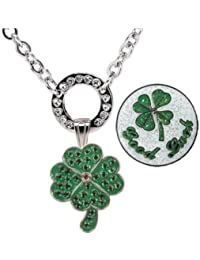 Navika Magnetic Necklace with Swarovski Crystal Clover and Glitzy Good Luck Ball Markers