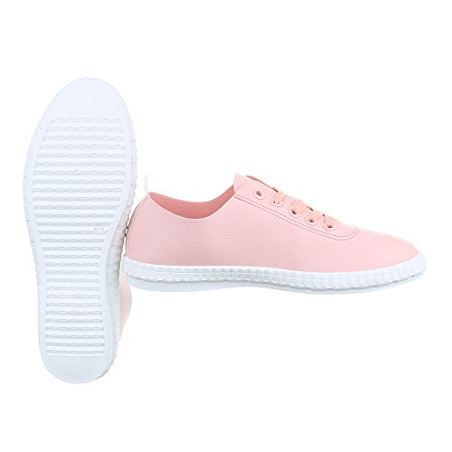 Ital-Design Sportschuhe Damenschuhe Geschlossen Sneakers Schnürsenkel Freizeitschuhe Rosa