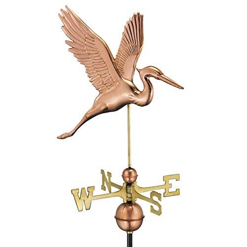 Galleria fotografica Good directions graceful Blue Heron con freccia segnavento–in puro rame