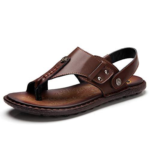 ChengxiO Outdoor Sandalen Herren Leder Sommer Neue Männer Freizeitschuhe 2019 Neue atmungsaktive römische Schuhe Herren Sandalen weiche Kuh Lederschuhe (Farbe : Braun, größe : 270mm) (Sandalen Größe Für Leder 15 Männer Aus)