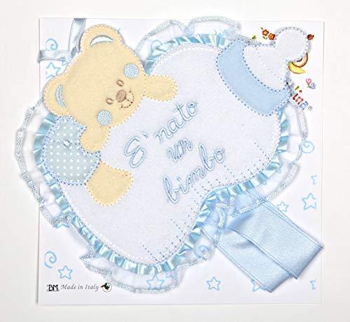 Schleife Geburt/Überwiege Babyflasche blau