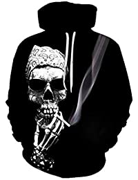 XINGMU Sweat-Shirt Impression Numérique 3D Décontractée Tête De Mort Sweat  À Capuche ... 33e7c08a997