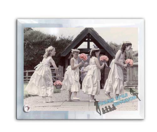 Generico bomboniera per testimoni lumenglass cornice portafoto in vetro fotoricordo personalizzata con foto per matrimonio battesimo cresima comunione 30 cm x 16 cm italian style diffusion