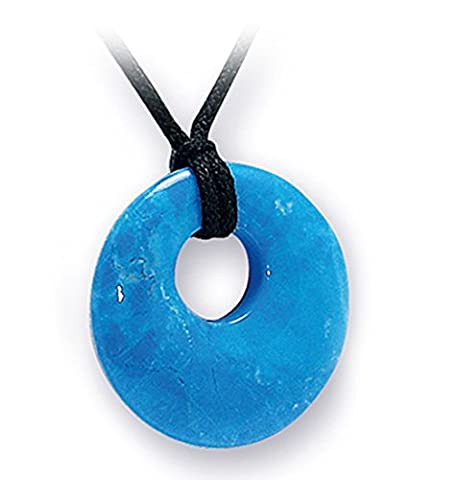 Blue Howlite Crystal Donut Necklace on Black