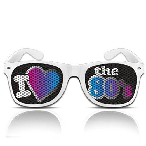 Lustige Partybrille Sonnenbrille 80er Jahre Style I love the 80´s Brille Hippie Verkleidung Sonnen Brille 80er (Nerd weiß)