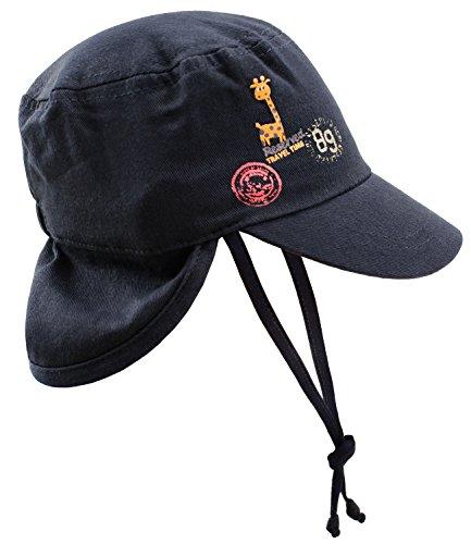 EveryHead Babymütze Jungenmütze Nachenschutzcap Nackenschutzmütze Schirmmütze Urbancap Basecap Sommercap einfarbig für Babys (PT-76172-S17-BJ0-16-OS) in Marine, Größe OS inkl Hutfibel Marines Military Hat