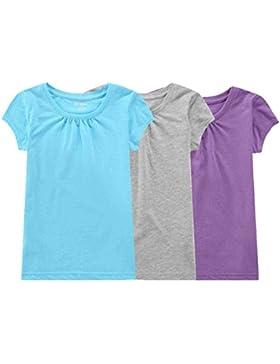 Bienzoe Mädchen Antimikrobiell Schnelltrocknend Kurzarm T-Shirt 3pcs Satz
