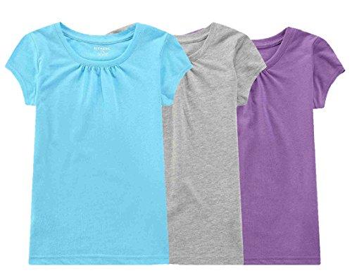 Bienzoe Mädchen Antimikrobiell Schnelltrocknend Kurzarm T-Shirt 3pcs Satz B Größe 6/6X (6x T-shirt)