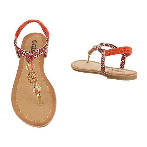 Ital-Design - Scarpe peep toe Donna Arancione/Multicolore