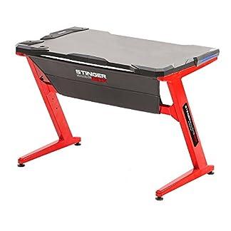 Stinger Gaming Desk – Mesa de Diseño Gaming (Amplia superficie de juego,Abertura pasa cables,Luces Leds en los laterales, Patas de acero resistentes, Estructura en Z), color rojo